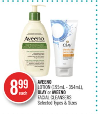 Aveeno Lotion (195ml - 354ml) - Olay or Aveeno Facial Cleansers