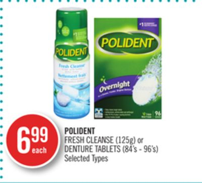 Polident Fresh Cleanse (125g) or Denture Tablets (84's - 96's)