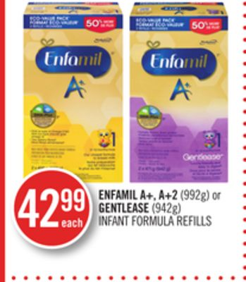 Enfamil A+ - A+2 (992g) or Gentlease (942g) Infant Formula Refills