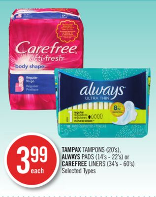 Tampax Tampons (20's) - Always Pads (14's - 22's) or Carefree Liners (34's - 60's)
