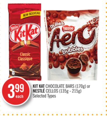 Kit Kat Chocolate Bars (170g) or Nestlé Cellos (135g - 215g)