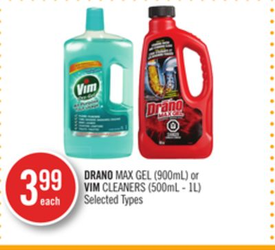 Drano Max Gel (900ml) or Vim Cleaners (500ml - 1l)