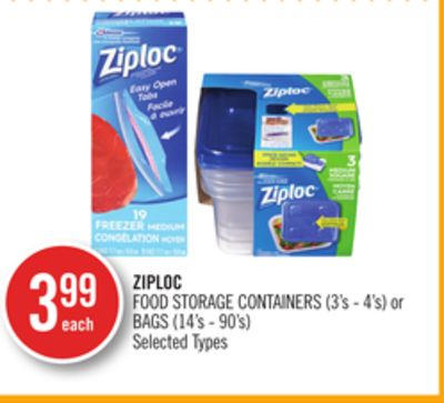 Ziploc Food Storage Containers (3's - 4's) or Bags (14's - 90's)
