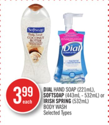 Dial Hand Soap (221ml) - Softsoap (443ml - 532ml) or Irish Spring (532ml) Body Wash