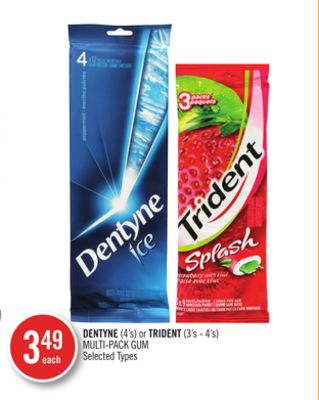 Dentyne (4's) or Trident (3's - 4's) Multi-pack GUM