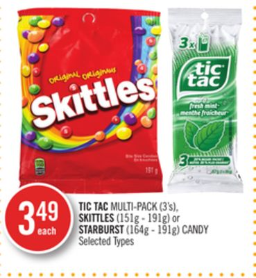 Tic Tac Multi-pack (3's) - Skittles (151g - 191g) or Starburst (164g - 191g) Candy
