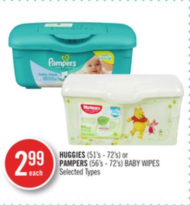 Huggies (51's - 72's) or Pampers (56's - 72's) Baby Wipes