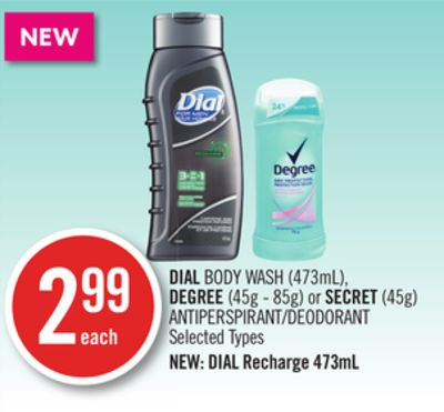 Dial Body Wash (473ml) - Degree (45g - 85g) or Secret (45g) Antiperspirant/deodorant
