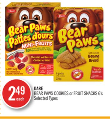 Dare Bear Paws Cookies or Fruit Snacks