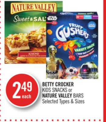 Betty Crocker Kids Snacks or Nature Valley Bars