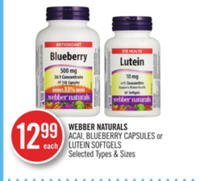 Webber Naturals Acai - Blueberry Capsules or Lutein Softgels