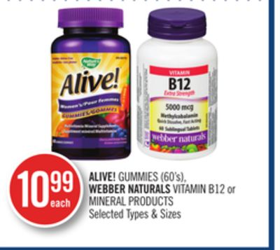 Alive! Gummies (60's) - Webber Naturals Vitamin B12 or Mineral Products