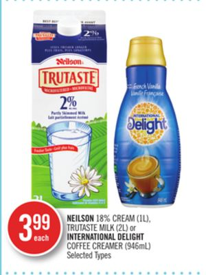 Neilson 18% Cream (1l) - Trutaste Milk (2l) or International Delight Coffee Creamer (946ml)