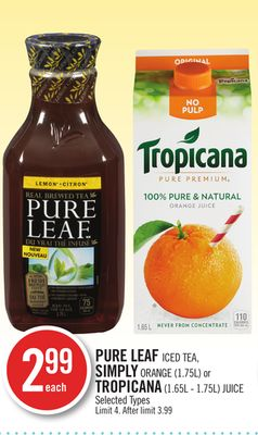 Pure Leaf Iced Tea - Simply Orange (1.75l) or Tropicana (1.65l - 1.75l) Juice