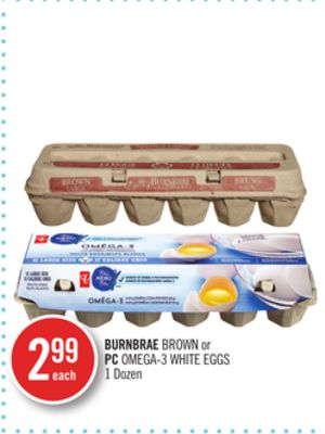 Burnbrae Brown or PC Omega-3 White Eggs