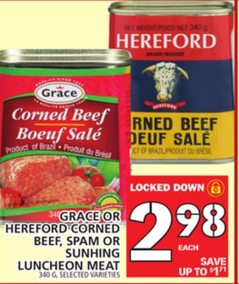 Grace Or Hereford Corned Beef - Spam Or Sunhing Luncheon Meat