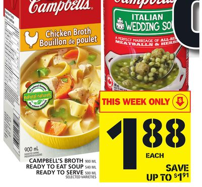 Campbell's Broth 900 Ml Ready To Eat Soup 540 Ml Ready To Serve 500 Ml