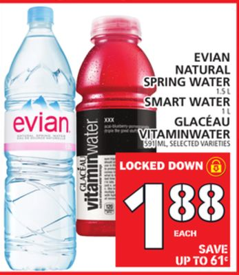 Evian Natural Spring Water 1.5 L Smart Water 1 L Glacéau Vitaminwater 591 Ml