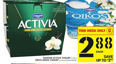 Danone Activia Yogurt 8 X 100 G Oïkos Greek Yogurt 4 X 100 G