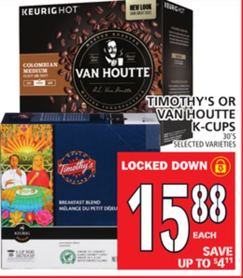 Timothy's Or Van Houtte K-cups
