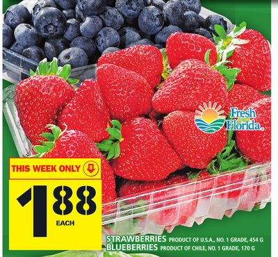 Strawberries Product Of U.S.A. - No. 1 Grade - 454 G Blueberries Product Of Chile - No. 1 Grade - 170 G