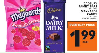 Cadbury Family Bars 90 - 100 G Maynards Candy 170 - 185 G