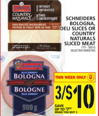 Schneiders Bologna - Deli Slices Or Country Naturals Sliced Meat