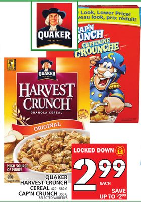 Quaker Harvest Crunch Cereal 470 - 560 G Cap'n Crunch 350 G