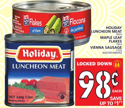 Holiday Luncheon Meat 340 G Maple Leaf Flakes 156 G