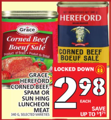 Grace - Hereford Corned Beef - Spam Or Sun Hing Luncheon Meat