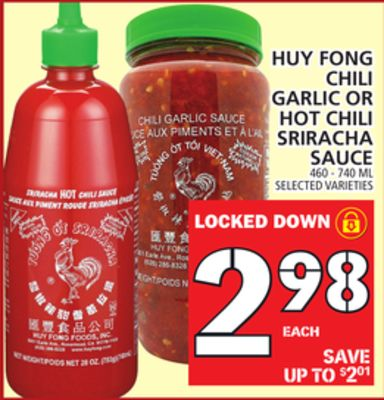 Huy Fong Chili Garlic Or Hot Chili Sriracha Sauce
