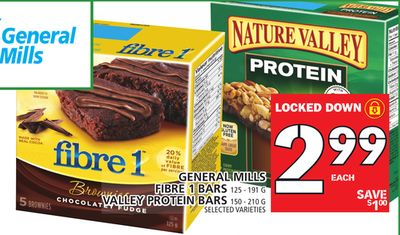 General Mills Fibre 1 Bars 125 - 191 G Valley Protein Bars 150 - 210 G