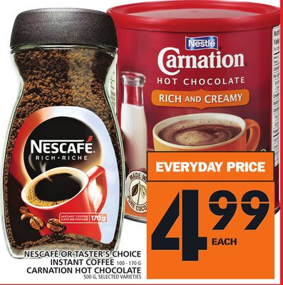 Nescafé Or Taster's Choice Instant Coffee 100 - 170 G Carnation Hot Chocolate 500 G