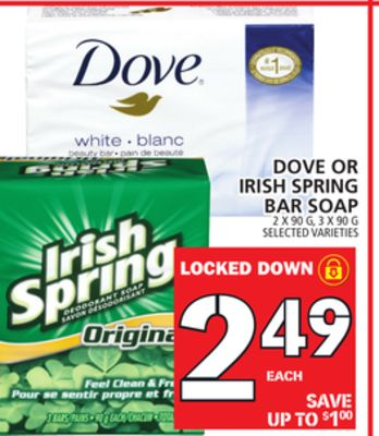 Dove Or Irish Spring Bar Soap