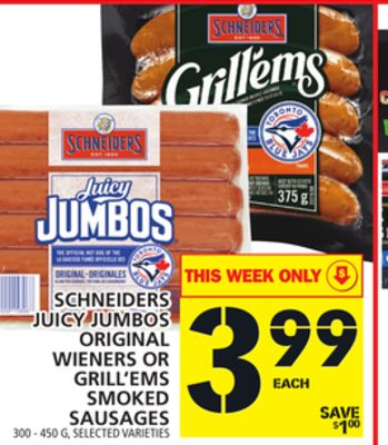 Juicy Jumbos Original Wieners Or Grill'ems Smoked Sausages