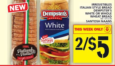 Italian Style Bread Dempster's White Or Whole Wheat Bread ...