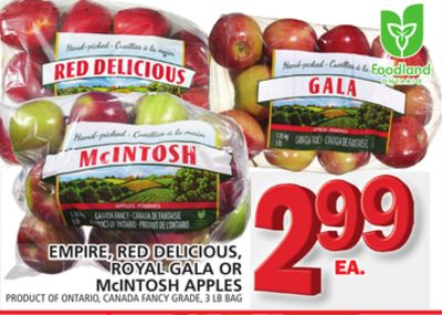 Empire - Red Delicious - Royal Gala Or Mcintosh Apples