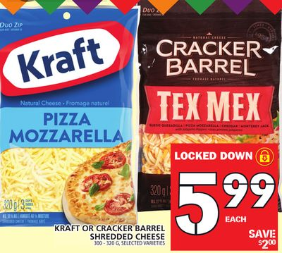 Kraft Or Cracker Barrel Shredded Cheese