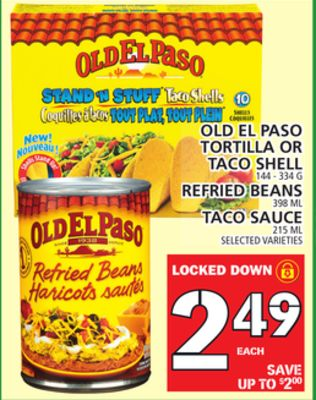 Old El Paso Tortilla Or Taco Shell - Refried Beans - Taco Sauce