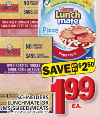 Schneiders Lunchmate Or Jms Sliced Meats