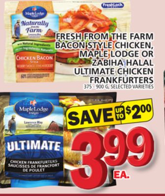 Fresh From The Farm Bacon Style Chicken - Maple Lodge Or Zabiha Halal Ultimate Chicken Frankfurters