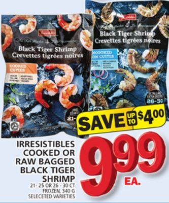 Irresistibles Cooked Or Raw Bagged Black Tiger Shrimp