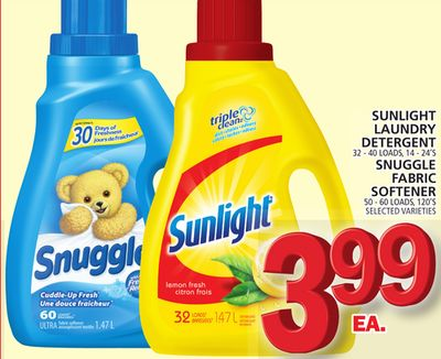 Sunlight Laundry Detergent Or Snuggle Fabric Softener