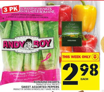 Romaine Hearts Product Of U.S.A. - Pkg Of 3 Sweet Assorted Peppers Product Of Ontario Or Mexico - No. 1 Grade - Pkg Of 4