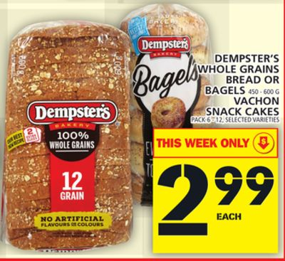 Dempster's Whole Grains Bread Or Bagels 450 - 600 G Vachon Snack Cakes Pack 6 - 12