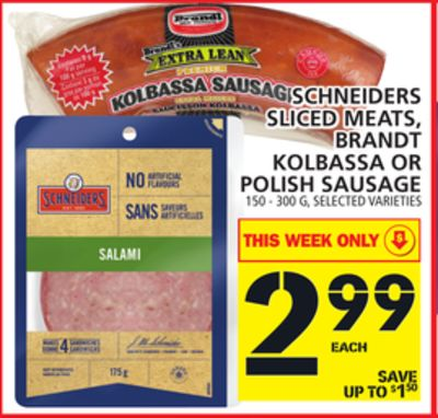 Schneiders Sliced Meats - Brandt Kolbassa Or Polish Sausage