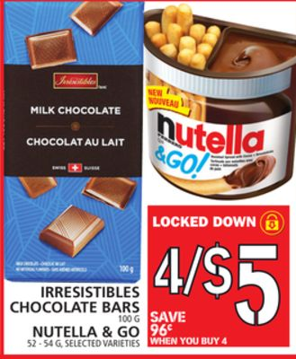 Irresistibles Chocolate Bars Or Nutella & Go