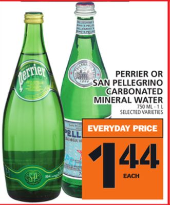 Perrier Or San Pellegrino Carbonated Mineral Water