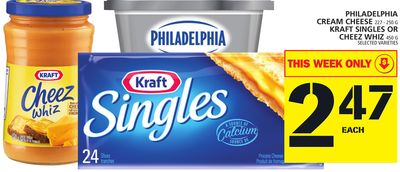 Philadelphia Cream Cheese 227 - 250 G Kraft Singles Or Cheez Whiz 450 G