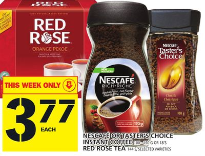 Nescafé Or Taster's Choice Instant Coffee Or Red Rose Tea